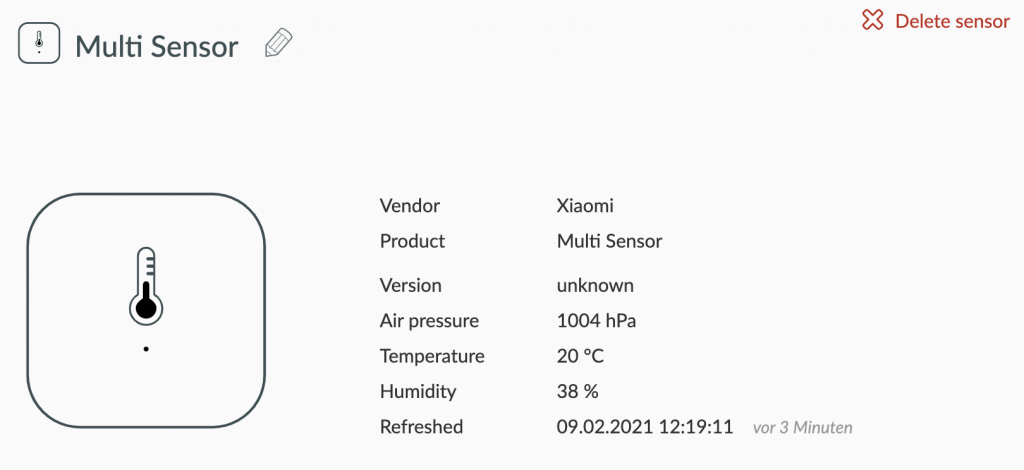 Temperature sensor information