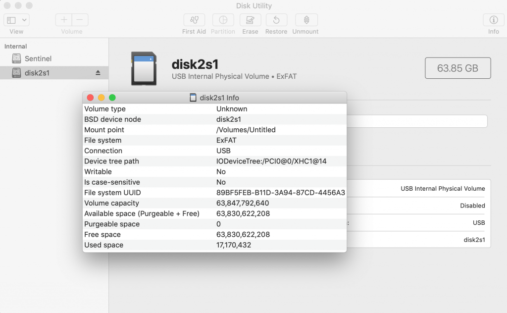 Disk Utility showing that the SD card is non-writable